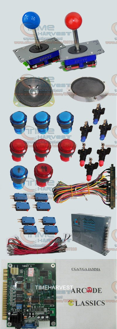 1 set Arcade parts Bundles With 60 in 1 PCB 16A Power Supply Joystick illuminated button Microswitch Speaker for Arcade Machine1 set Arcade parts Bundles With 60 in 1 PCB 16A Power Supply Joystick illuminated button Microswitch Speaker for Arcade Machine