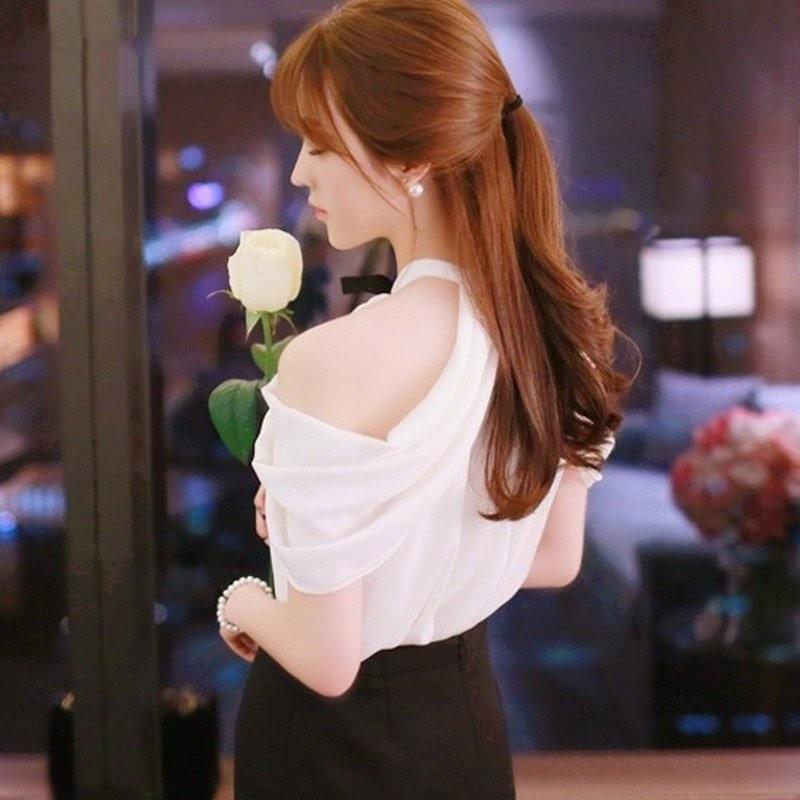 HTB1C7hEd5b.BuNjt jDq6zOzpXaq - White Shirt Women Sexy Off Shoulder Top Slash Neck Slim Wrap See Through Chiffon Blouse