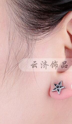 Newest Design Titanium earrings girls stainless steel jewelry Male HOT triangle square star screws black enamel stud earring men