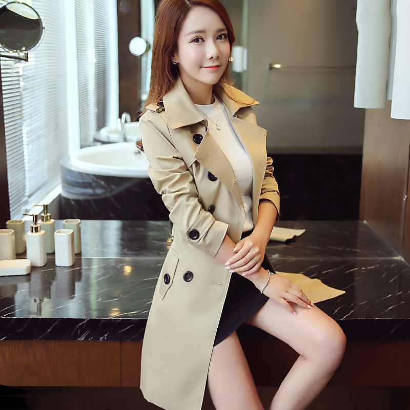 Outwear Trench-Coat Windbreaker Spring Autumn Double-Breasted Long Plus-Size And Solid