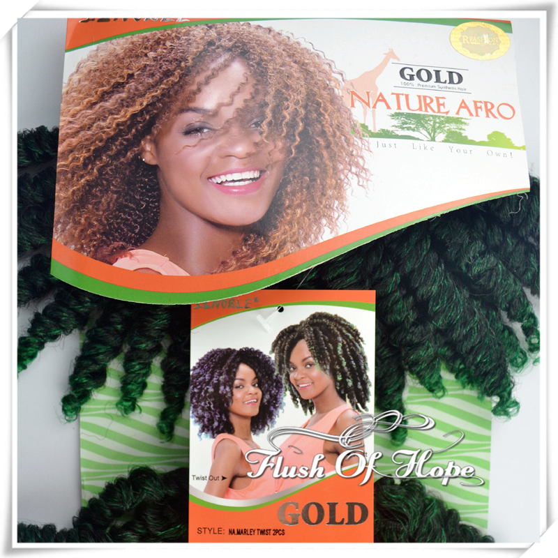 Noble Gold Natural Afro Marley Twist Braid Hair Weaving Ombre Curly