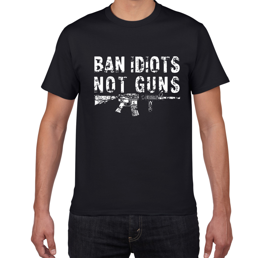 Pro-Gun Second Amendment American Flag 100T Cotton Mens T-Shirt Ban Idiots Not Guns Streetwear Harajuku Top Tee Men Clothes 2019