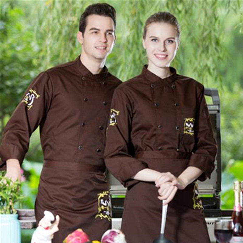 Chef's Long Sleeve Chef Uniform Cook Clothes  Outfit Summer Wear Work Clothes Hotel Chef Black Jacket Uniform