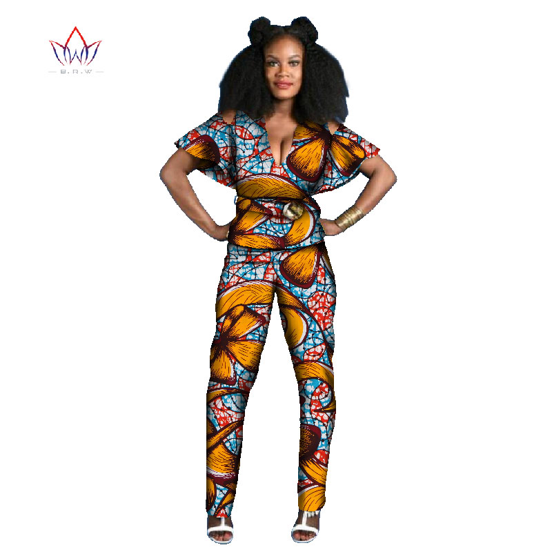 summer african women jumpersuit with print women african clothing two pieces short sleeve dashiki pant plus size natural WY794