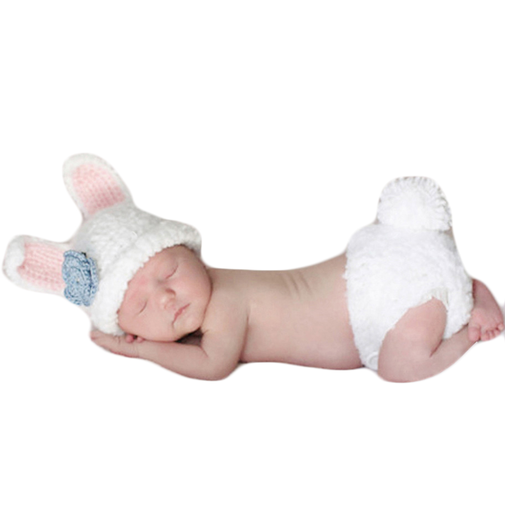 Photo Props Cute Cartoon White Rabbit Style Infant Newborn Baby Girl Boy Crochet Beanie Hat Clothes Baby Photograph Props