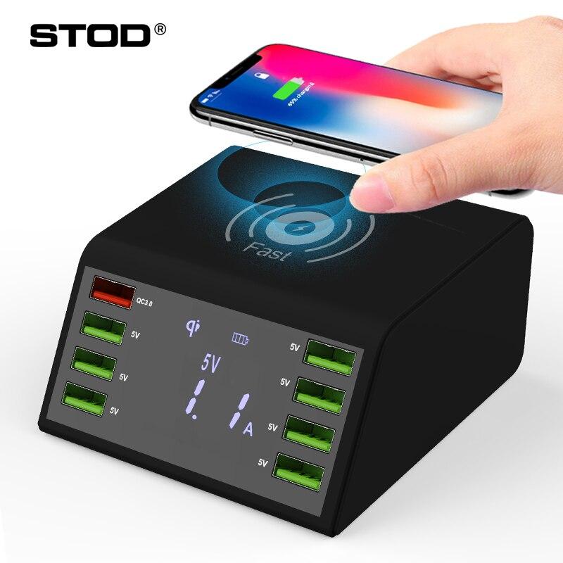 Stod qi carregador sem fio usb 60 w display led carga rápida 3.0 estação de carregamento rápido para iphone x samsung huawei nexus mi adaptador