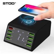 Stod qi 무선 usb 충전기 60 w led 디스플레이 빠른 충전 3.0 iphone x 용 고속 충전 스테이션 samsung huawei nexus mi adapter