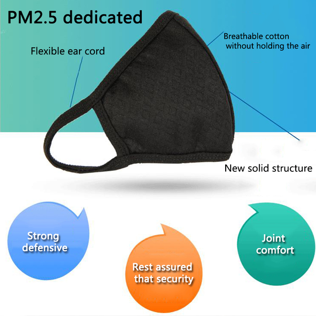 PM2.5 Mouth Mask Fashion Solid Anti Haze Dust Mask Nose Filter Windproof Face Muffle Bacteria Flu Fabric Cloth Masks 1