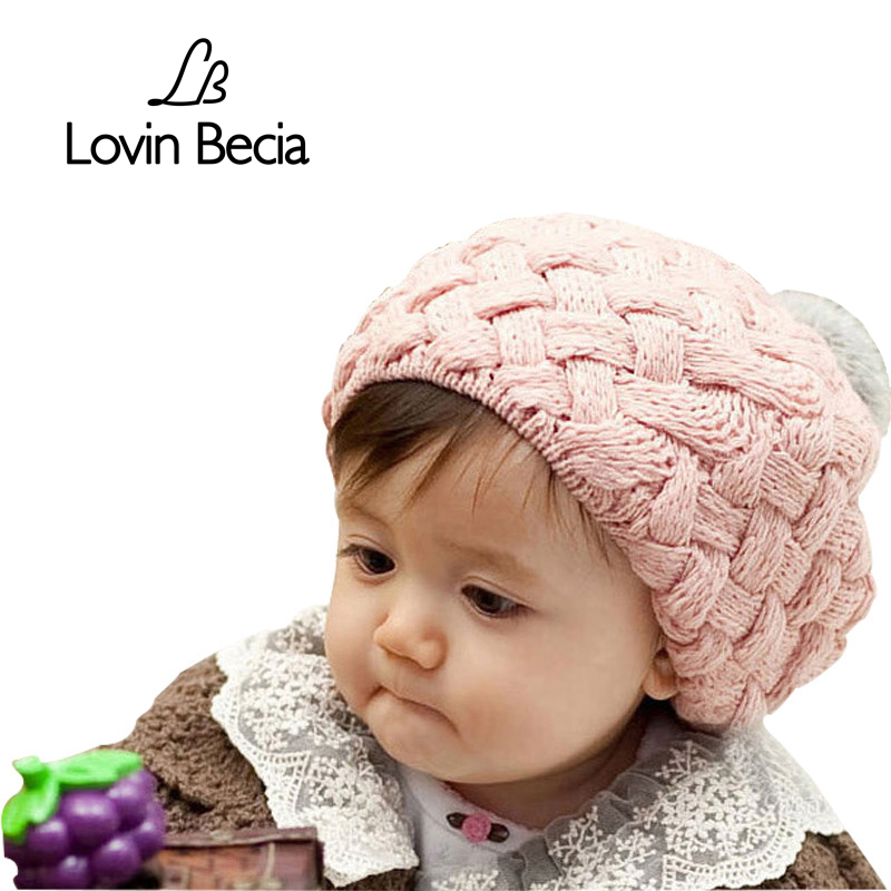LOVIN BECIA winter Berets pompons caps for girls knitted baby beanie caps for children kids handmade crochet infantil hat