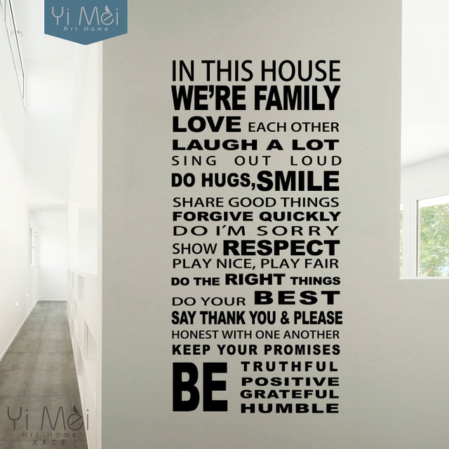 In This House Wall Decal,Weu0027re Family Rules Wall Stickers,Love Each