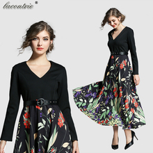 2018 Spring Fashion Women Stitching Printed A-Line dress Elegant V-neck long-sleeved Decorative belt Mid-Calf Trumpet dresses