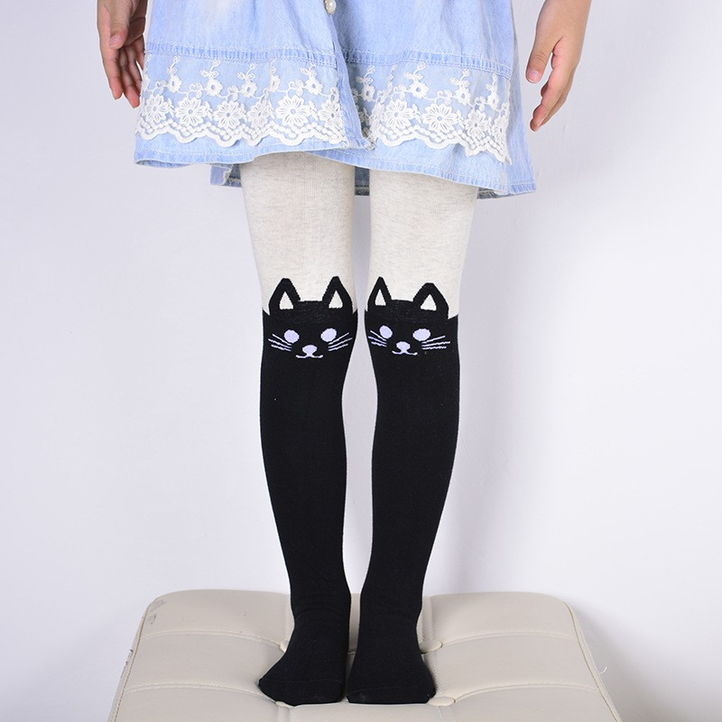 все цены на Spring Autumn Girls Tights Cartoon Cat Baby Girl Pantyhose Cotton kids Stocking Baby Pantyhose 80-130 cm
