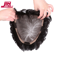 JINKAILI Synthetic Hair Durable Hairpieces Lace PU Replacement Toupees Straight Top Natural Hair Clip In Air Bangs Closure Women