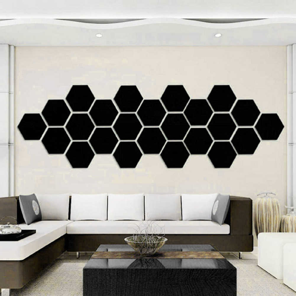 12 шт. с геометрическим шестиугольным 3D зеркальным эффектом наклейки на стену Набор для изготовления декора для дома наклейки и постер