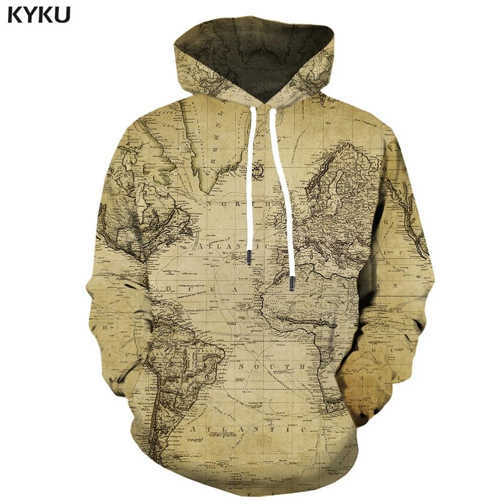 KYKU Brand World Map Hoodie Men Geometric Hoody Anime Vintage Hoodes 3d Funny Print Gothic Hooded Casual Unisex Fashion
