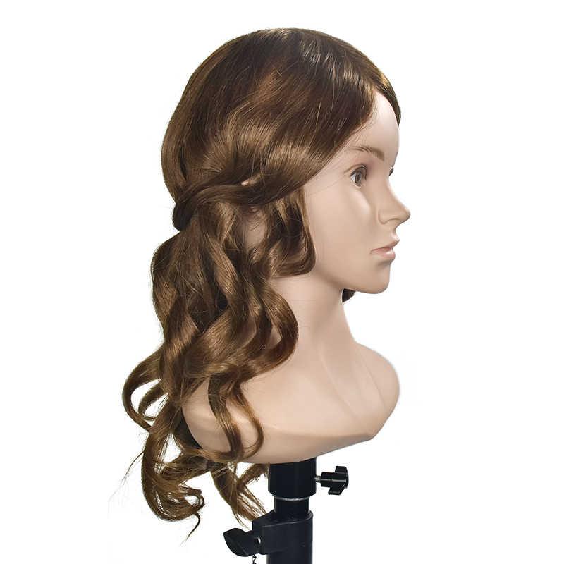 ماستر 20 بوصة تصفيف الشعر رئيس التدريب مع الكتف المعرضة رئيس مع 100% شعر طبيعي تسريحات ممارسة دمى