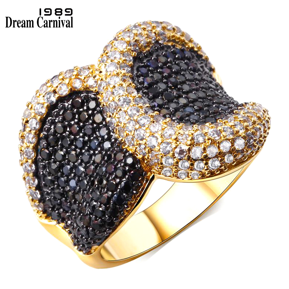 Dreamcarnival1989 Rhodium Gold Color Big Punk Ring For Women 2 Tones CZ Deluxe Hypoallergenic Jewelry Anillos Mujer Bagues Femme punk style pure color hollow out ring for women