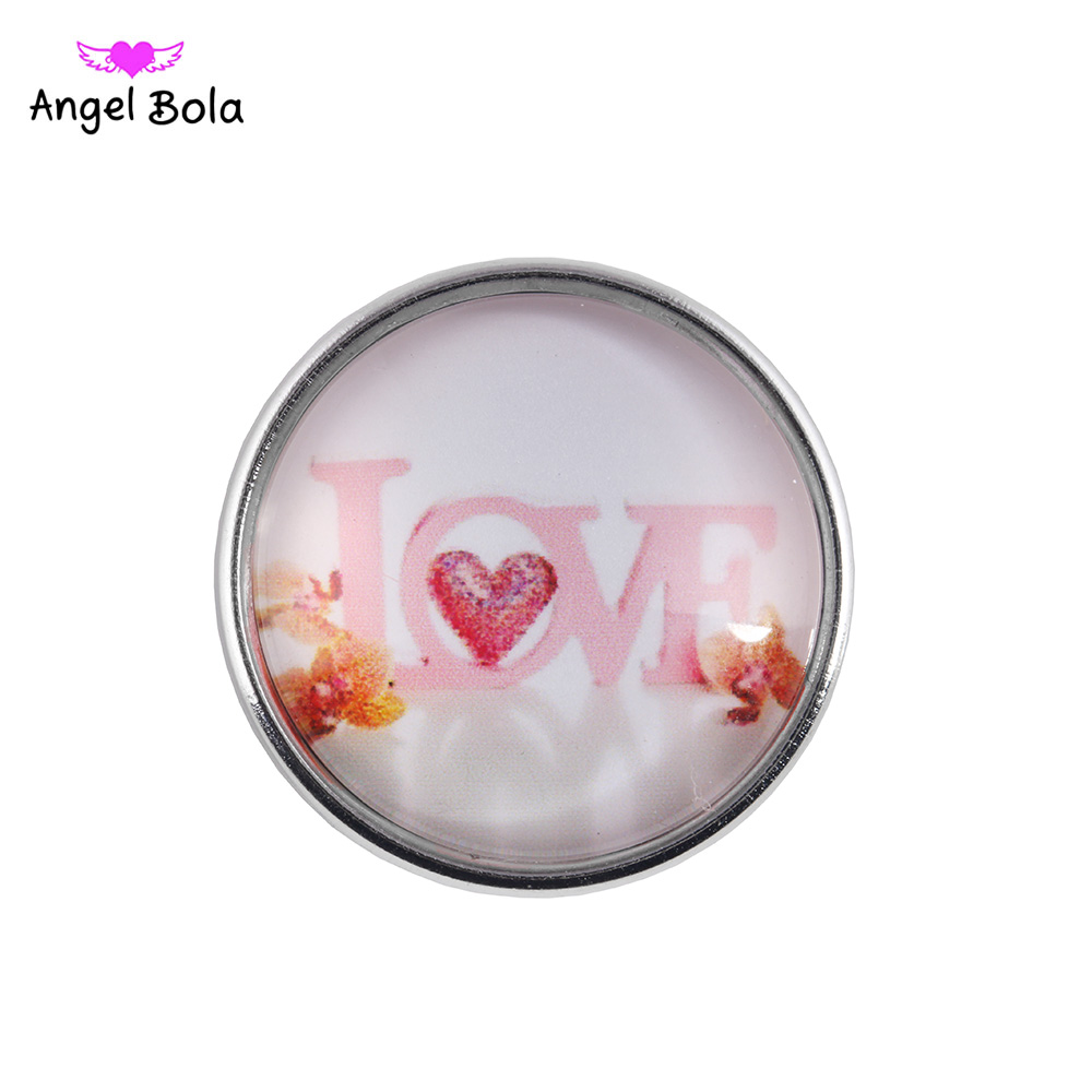 12PCS/LOT Glass Snap Button 18mm Ginger Snaps Charms for Snap Bracelet Jewelry Snap Jewelry For Love Valentine's <font><b>Day</b></font> NS002-<font><b>91</b></font> image