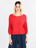Knitted rib with sleeves 3/4 puff