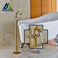 Wholesale And Retail Golden Dual Handle Bathroom Tub Faucet Floor Mounted Bathtub Mixer Taps China Drogan
