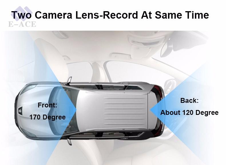 E-ACE Car Dvr WIFI DVRs Dual Camera Lens Registrator Dashcam Digital Video Recorder Camcorder Full HD 1080P 30FPS Night Version 12