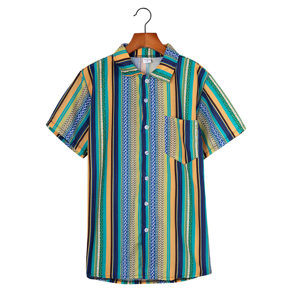 Womail Fashion Summer Shirts Mens Ethnic Printed Stand Collar Colorful Striped Short Sleeve Loose Henley Shirt 2019 New Arrivals Рубашка