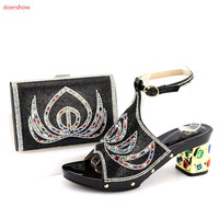 doershow Shoes and Bag Set In Italy Sales In Women Matching Shoes and Bag Set Decorated with Rhinestone Nigerian Shoes SQV1 13