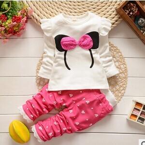 Envío gratis 2016 nueva primavera otoño ropa de bebé girls set tela de algodón con la cabeza de Mickey de impresión bebé de la manera fija A174