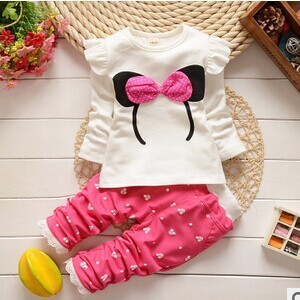 Free shipping 2016 new spring autumn baby girls clothing set cotton material with Mickey head print  fashion baby sets A174
