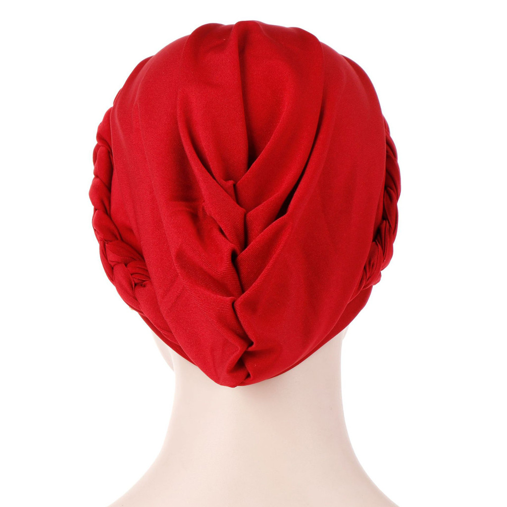 Femmes Perles Inde Chapeau musulman volants Cancer Chimio Beanie Comfy Turban Wrap Cap