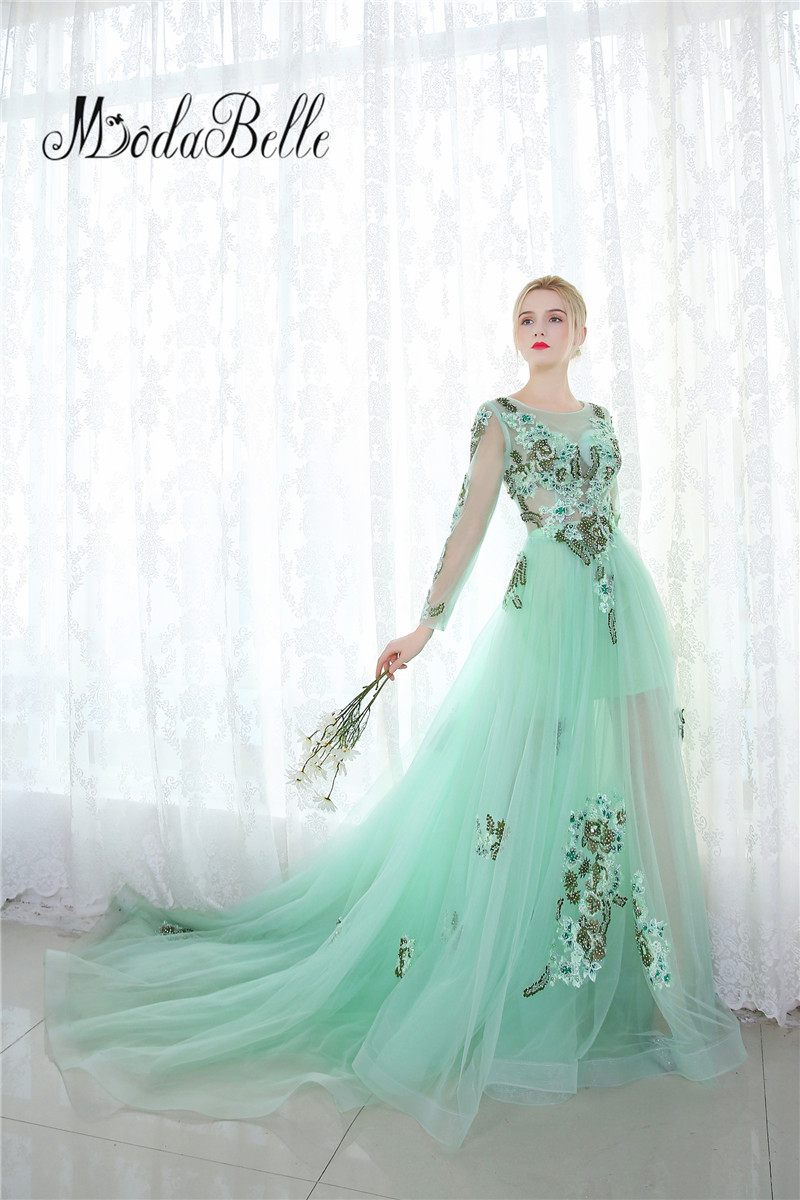 modabelle Mint Green Tulle Evening Dress Floral Long Sleeve Dubai ...