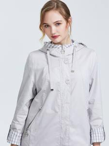 Astrid 2019 Осень новое поступление ветровка женская плюс размер короткое пальто для женщин с капюшоном темно-синяя теплая куртка на молнии AS-9013