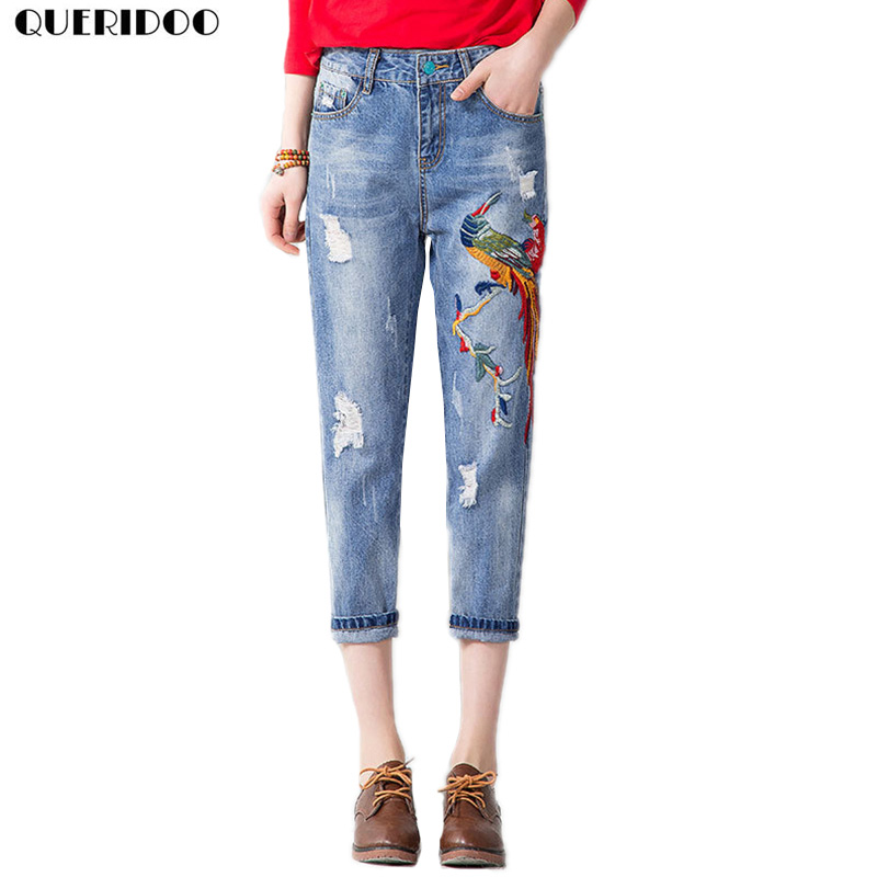 QUERIDOO hole ripped Birds Embroidery jeans women pants 2017 denim vintage straight jean girl Mid waist casual pants femme women girls casual vintage frayed ripped hole wash denim overall suspender jean pants cute denim shorts