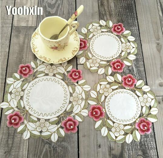Modern Round lace table place mat cloth embroidery tea placemat pad drink mug coaster cup Coffee wedding doily dining kitchen
