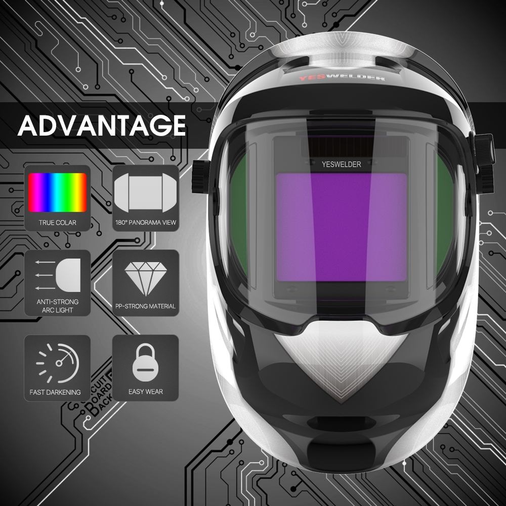 YESWELDER Panoramic 180 Large Viewing True Color Welding Helmet Solar Powered Auto Darkening Side View Welder