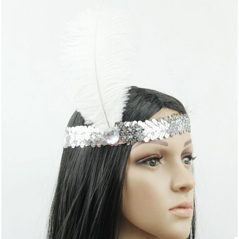 2017 Head Band Feather Headband 1920s Funny Flapper Sequin Headpiece  Costume Party Favor Decorations White Angel Feather-in Women s Hair  Accessories from ... 3c369fd6060