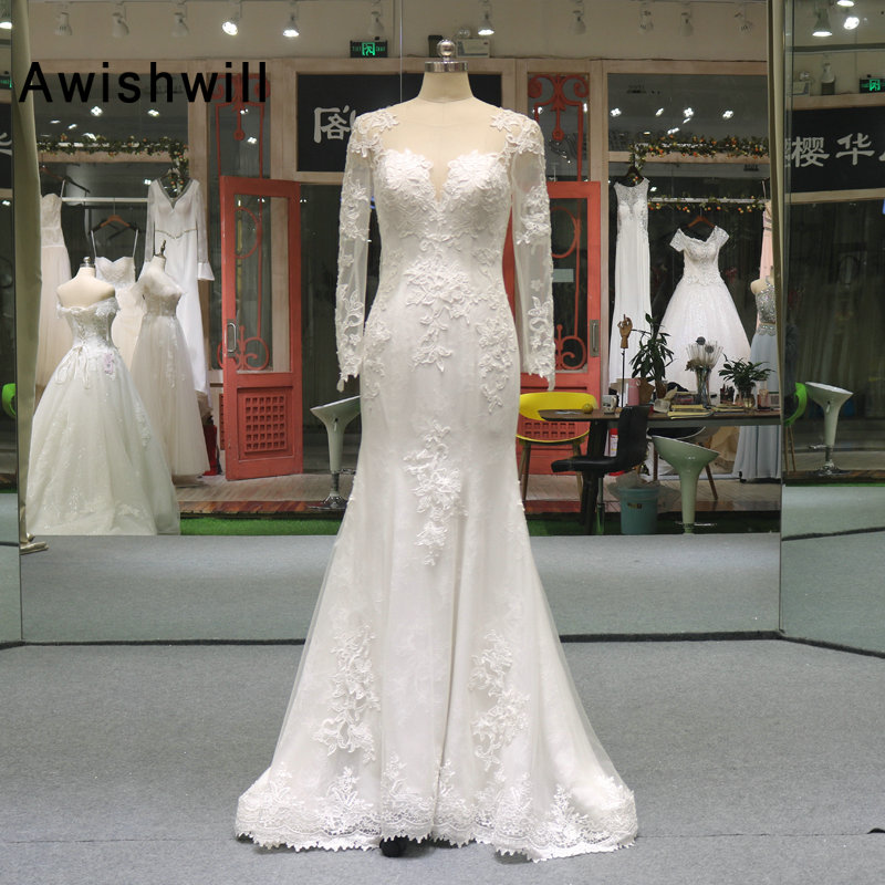 See Through Back Elegant Lace Wedding Dress Long Sleeves Mermaid Bridal Gowns Court Train Vestido de Noiva Real Pictures