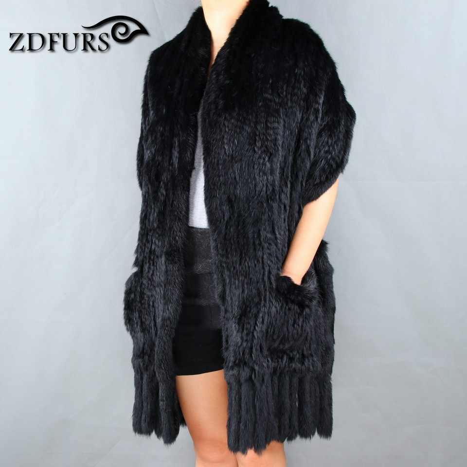 2b6b45f33 ... ZDFURS * Luxury Women's Genuine Real Knitted rabbit Fur Scarves with  Tassels Lady Pashmina Wraps Autumn ...