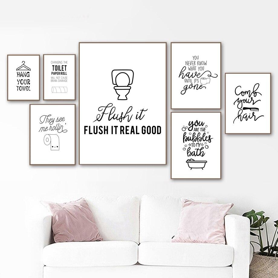 Lustige Zitat Wc Papier Pinsel Zähne Badewanne Wand Kunst Leinwand Malerei  Nordic Poster Und Drucke Wand Bilder Für Badezimmer Dekor