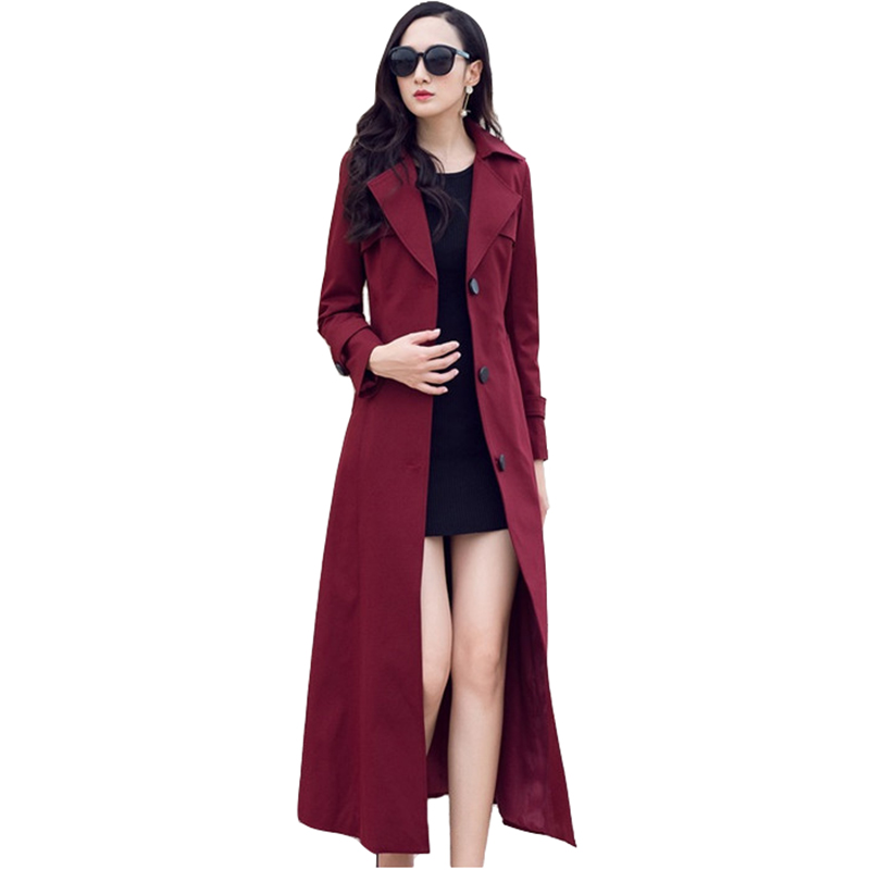 High quality Lengthen   Trench   Coat Women 2019 Fashion Spring Autumn Single-breasted Windbreaker Female Casual Tops Plus size 2673