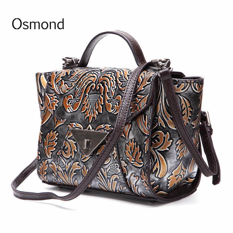 все цены на Osmond Women Genuine Leather Handbags Female Shoulder Bag For Ladies Totes Floral Embossed Crossbody Bags Bolsa Random Color