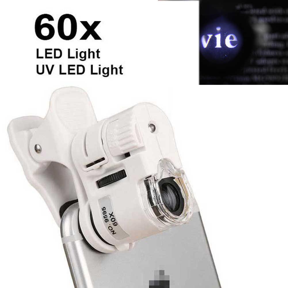60X Kẹp Kính Hiển Vi Kính Lúp Đèn LED Có Đèn Camera Di Động Kính Phóng Đại Đa Năng Điện Thoại Di Động