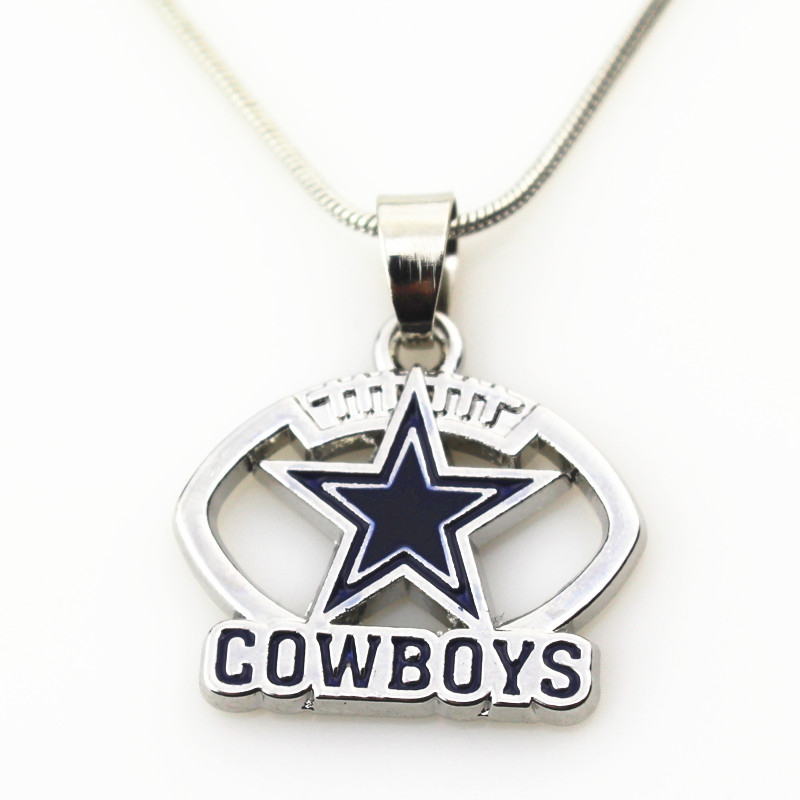 10pcs Dallas Cowboys USA Team Football sports necklace Jewelry with snake chain(45+5cm) necklace Charms Pendant