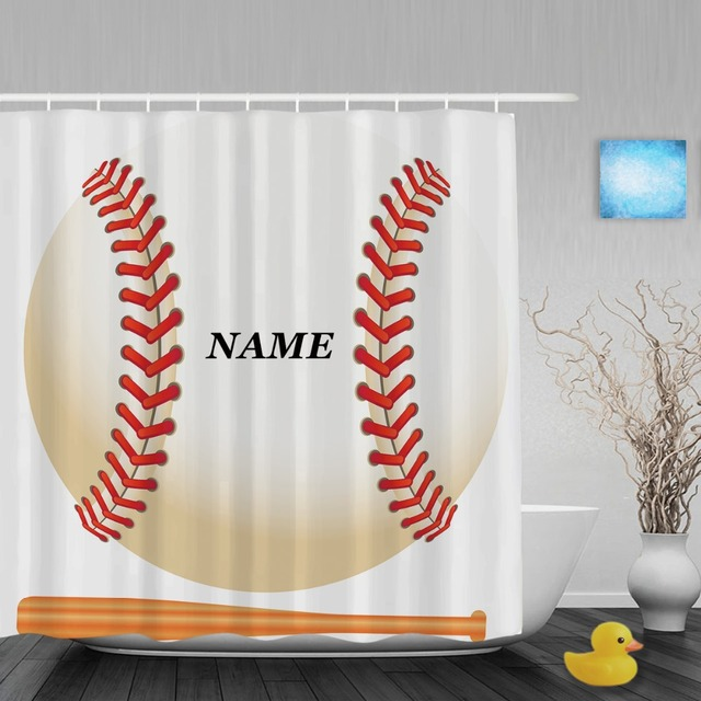 Personalized Baseball Game Shower Curtain Customize Name Decor Bathroom Curtains Polyester Waterproof Fabric With Hooks