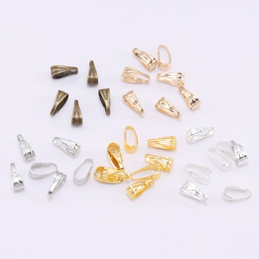 100pcs 7 8 10mm Buckle Clasp Connectors Clasps Pinch Clips Bails Charm Melon Seeds Buckle Pendant Supplies For Jewelry Findings