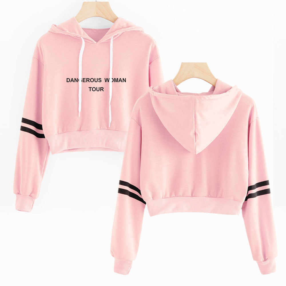 Ariana Grande Crop Top Hoodie Women Girls Cropped Sweatshirts Dangerous Woman Tour Long Sleeve Pullover Streetwear Teens Tops