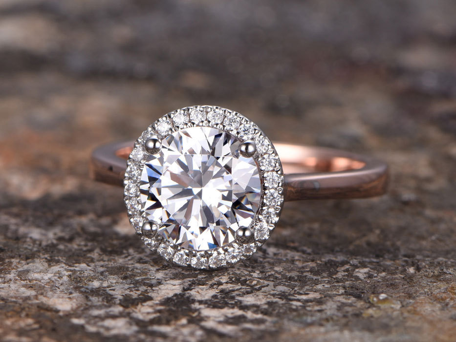 8mm Round Cut CZ Engagement ring 925 sterling silver wedding band Halo white/Rose gold plated ring Bridal ring stacking ring 3 4mm round cut brilliant cz 925 sterling silver rose gold plated women fashion engagement wedding cubic zirconia ring