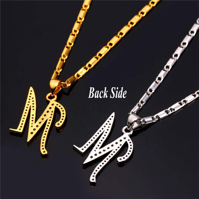 Starlord Initial M Letter Pendants Necklaces For Women Men Personalized Gift Alphabet Jewelry Gold Color