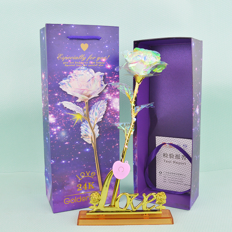 1 Pcs Glitter Colored Gold Box Galaxy With Love Base
