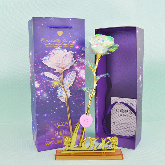 1 Pcs Glitter Colored gold Rose,Gift box Galaxy Rose with Love Base Luminous Rose Valentine Mother's Day Anniversary Gift